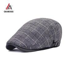 QIUBOSS высокое качество Модная хлопковая ткань Newsboy Плющ таксиста кепки Плед унисекс для женщин мужчин береты для женщин Casquette плоск