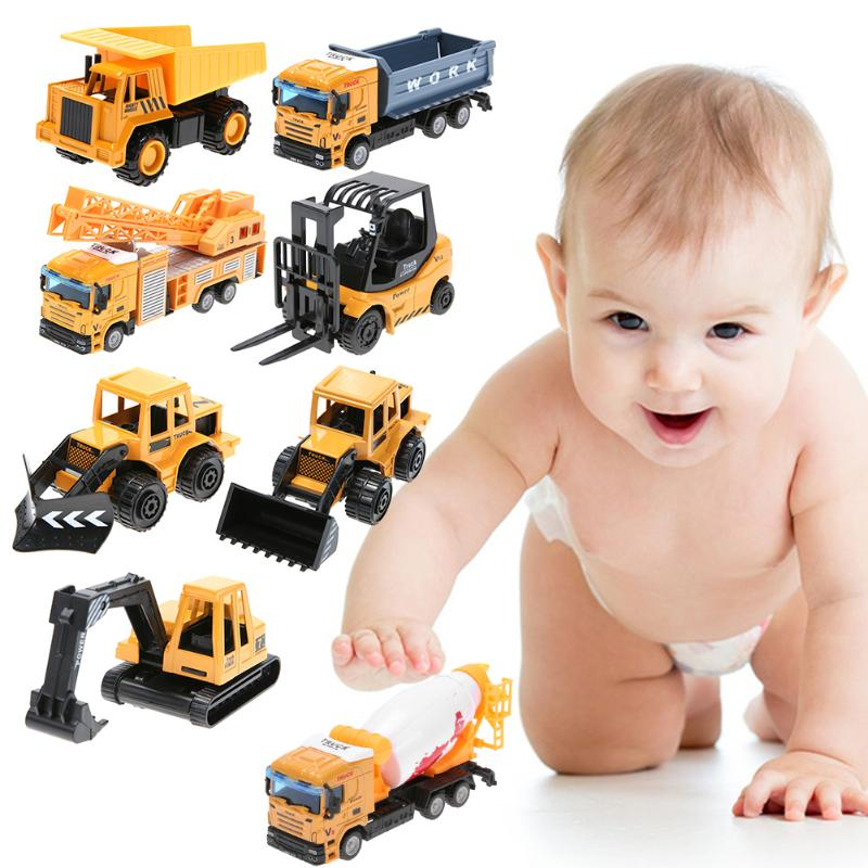 Image 2 - Mini Engineering Vehicles Pull Back Toy Excavator Forklift Burrow Truck Dump Truck Crane Charging Crane Road Roller Kids Toys-in Diecasts & Toy Vehicles from Toys & Hobbies
