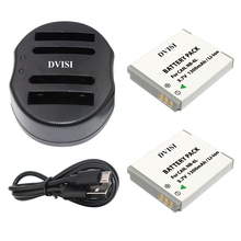 2pcs1.3Ah NB-6L NB6L Camera Battery with USB Dual Charger for CANON PowerShot SX240 SX260 HS IXY110 SD980 Digital Camera Battery