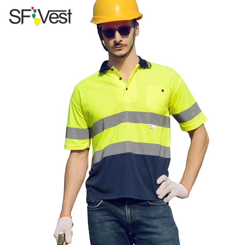SFVest Hallo vis arbeitshemd atmungsaktiv arbeit kleidung sicherheit reflektierende kurzarm polo shirt kostenloser versand