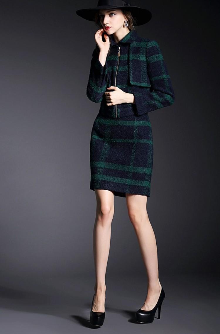 Runway Style High Grade Grid Pattern Woolen Green Skirt Suits Autumn Winter 2015 (17)