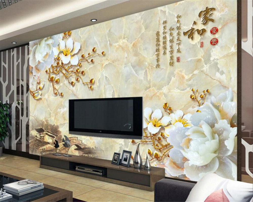 Beibehang 3d wallpapers marble upstairs embossed flowers home and ...