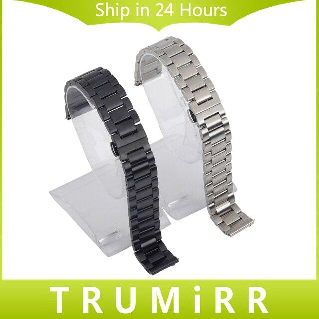 20 мм Из Нержавеющей Стали Smart Watch Band Ремешок с Пряжкой для Motorola Moto 360 2 2-го Поколения 42 мм 2015 Samsung Gear S2 Classic R732 и R735