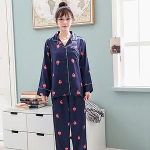 Image 4 - Women Silk Satin Pajamas Pyjamas Set 2019 Cute Design 2 Pcs Night Shirts Pants Home Wear For Female Girl Sleepwear Suit