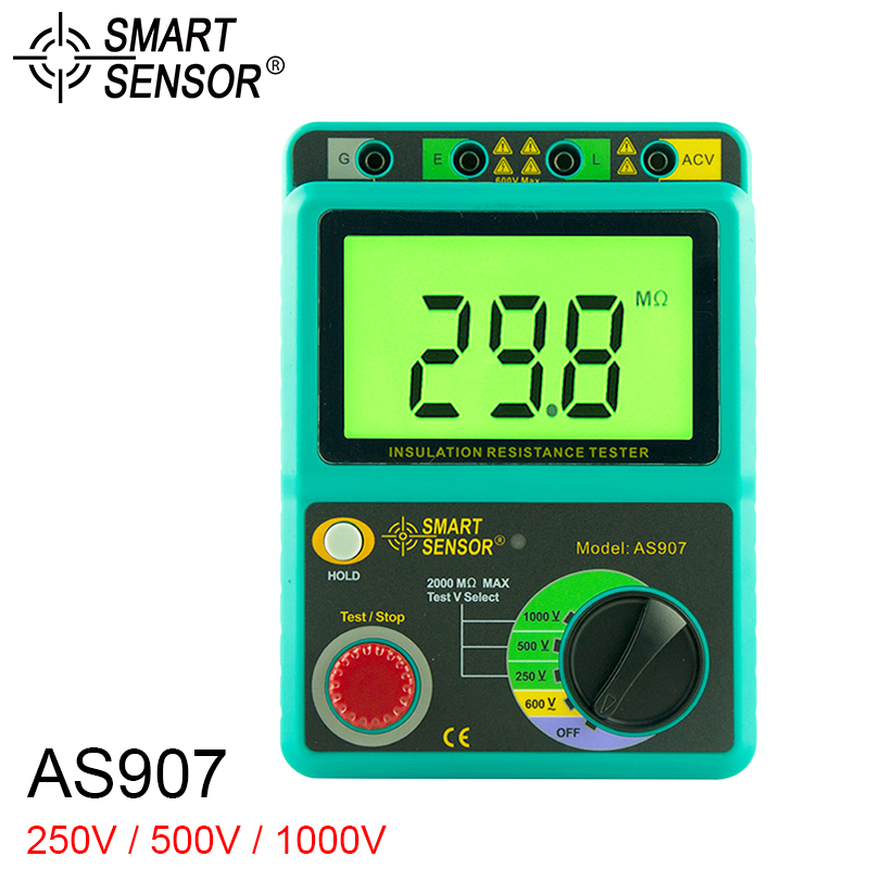 SMART SENSOR AS907 Insulation Resistance Meter 1000V Earth Ground Tester Megohmmeter Voltmeter doogee bl7000 4g phablet