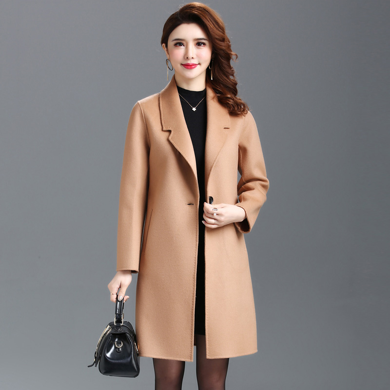 2019 New Autumn Winter Woolen coat women Long Warm Overcoat women plus size Slim Double-sided Wool coat Elegant Ladies coats 3XL