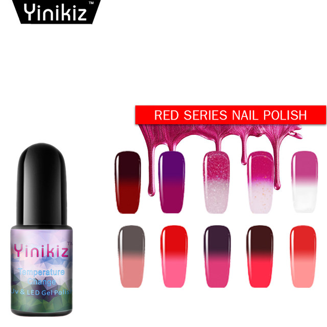 Yinikiz Glitter Pink Color Changing Nail Polish Mood Change Uv Led Gel Varnish Lacquer Thermo