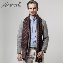 AETRENDS Winter Scarfs Men s Business Plaid Scarf Cashmere Feel Scarves for Men Clothes Accessories