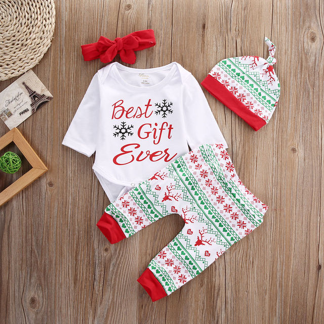 0f0ade659034 2016 New Baby Boy Girl Christmas Outfit Set Best Gift Romper Tops Floral  Printing Pants Legging Casual Hat Handband Clothes Set