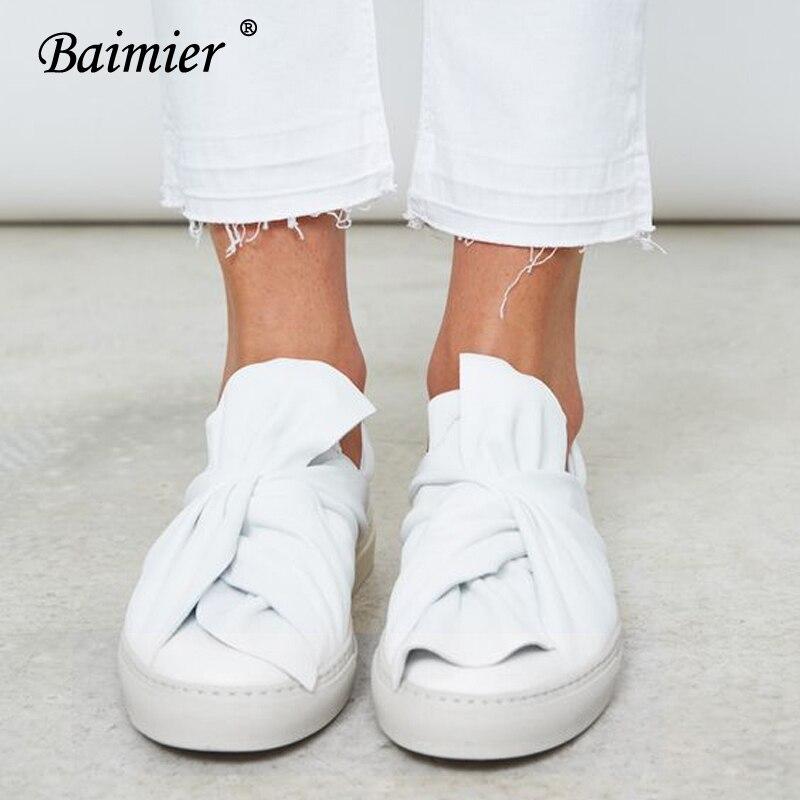 De Chaussures forme Mode white Des Rond Casual Femmes Noeud Plate 2018 Cuir Mocassins Bout Peu Black Blanc Femme Arc En Plat Véritable Baimier Profonde waqxfgU6HH