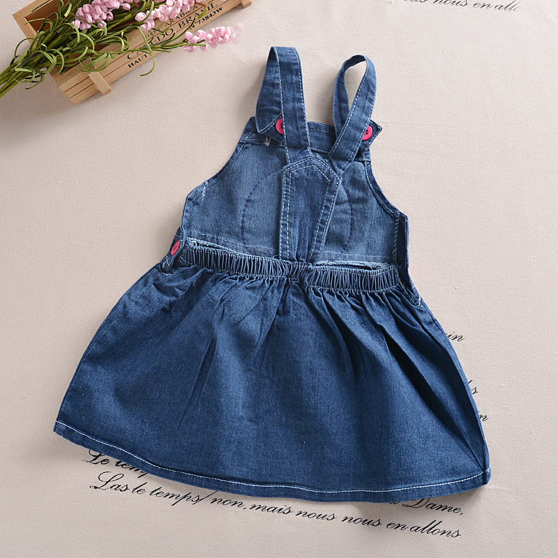 cb9faed23410 2016 new suspender baby girl dress denim cartoon girl clothing ...