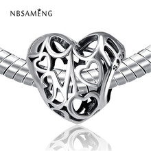 Authentic 925 Sterling Silver Bạc Bead Charm Vintage Hollow Mẹ Love Heart Hạt Fit Pandora Lắc & Bangles DIY Jewelry YW20076(China)