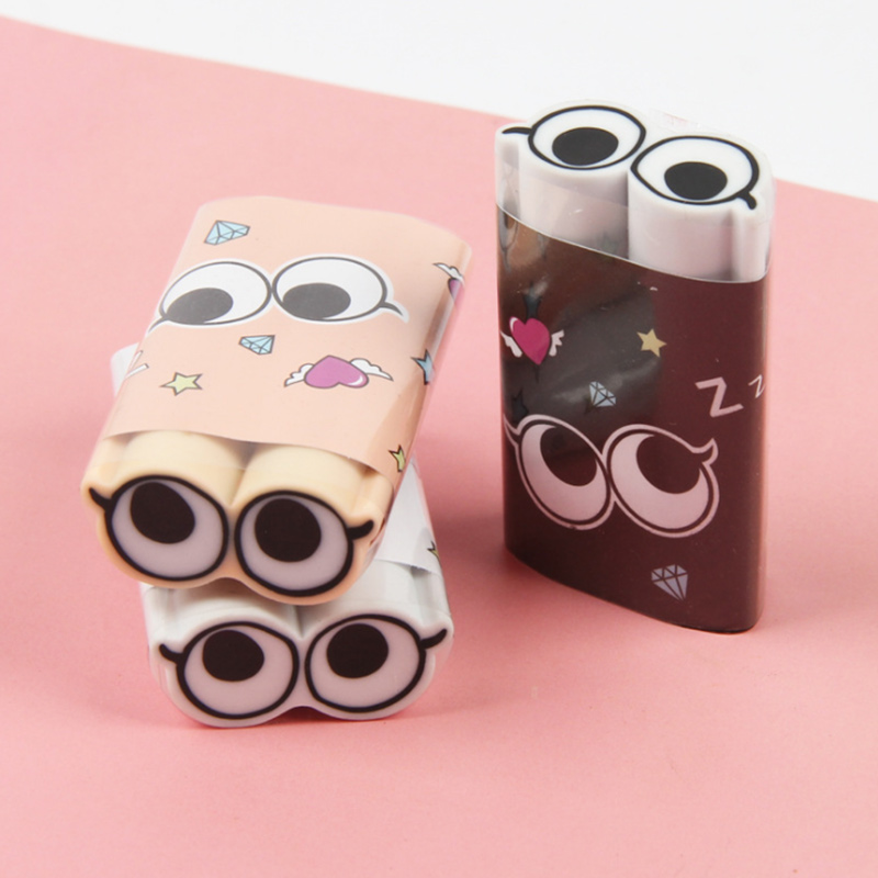 1 Pcs High Quality  Cute Big Eye 2B Rubber Eraser Kawaii Stationery School Supplies Papelaria Girl Gift For Kids Children's Toys