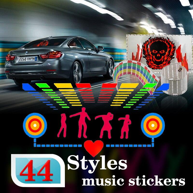 Car styling 90*25 40*30 50*30 Automobile LED  EL Sheet Car Music Sticker Equalizer Glow Flash Panel Light Flashing car styling 5 meter reflective sticker automobile luminous strip car