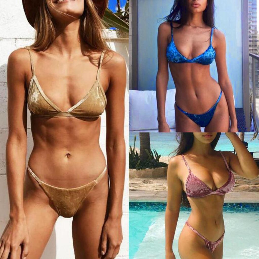2020  Swimwear Swimming Suit For Women Sexy Solid Velvet Bikini Two Piece  Swimwear Swimsuit Beachwear Set Ping