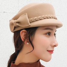 BINGYUANHAOXUAN 2018 Winter 100% Wool Fedora Hat For Women Formal Bowknot Pillbox Party Fascinator Berets Painter
