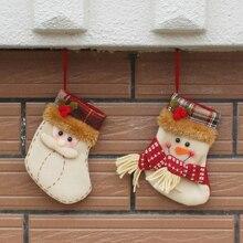 3pcs lot 2016 New Short Christmas Stocking Xmas Tree Decoration Gift Candy Bag Santa Snowman Christmas