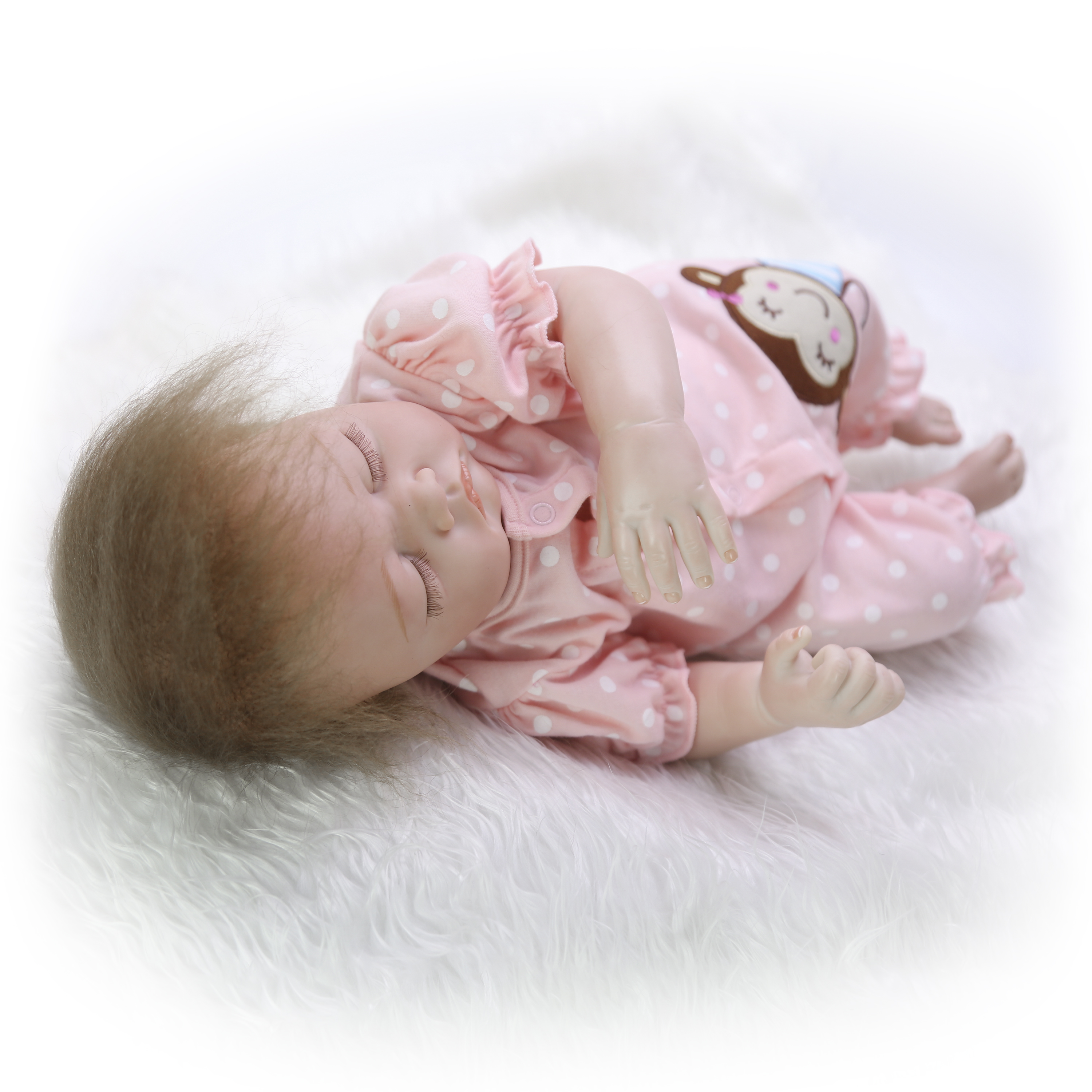 Real Lifelike Reborn Baby Doll 20 Inch Sleeping Princess Girl Babies Silicone Newborn Doll Toy With Curved Mohair Kids Playmate-in Muñecas from Juguetes y pasatiempos    3