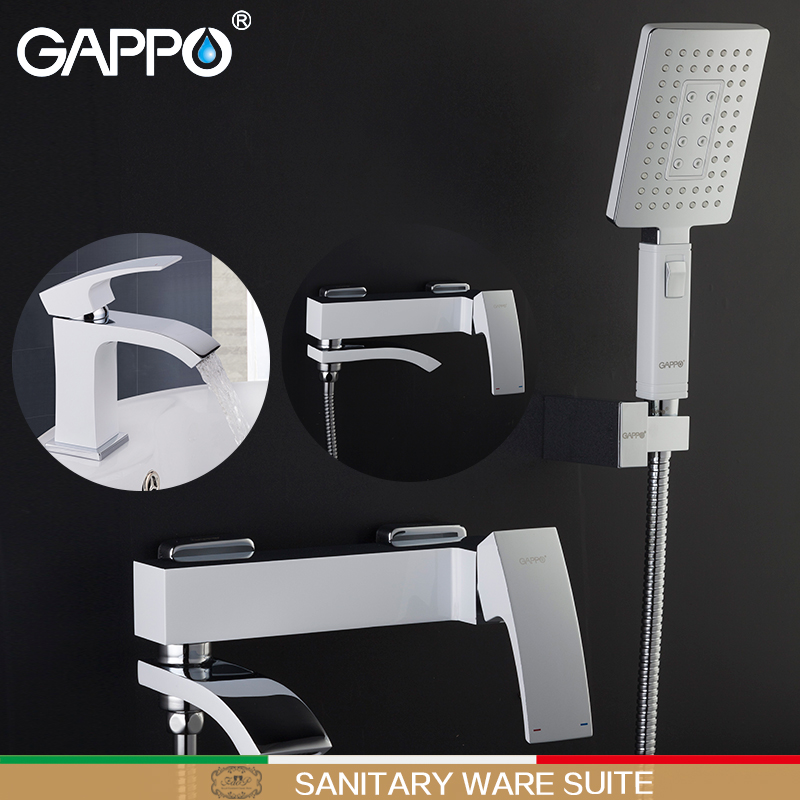 GAPPO white Shower Faucets bathtub mixer bathtub taps basin faucet basin sink tap water mixers shower system Sanitary Ware Suite