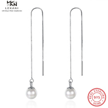 LEKANI Sterling Silver Pearl Long Earrings Fashion Ladies Gift Boutique Jewelry 2019 Womens Simple Round Drop Party