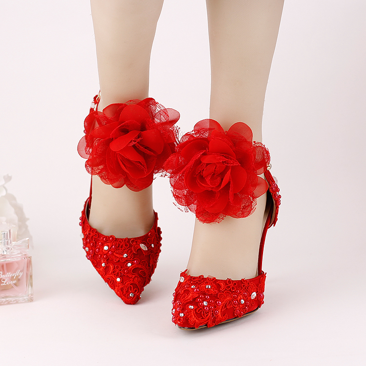Red lace flower pointed toe bridal shoes ultra high heels thin heels rhinestone wedding shoes wristband