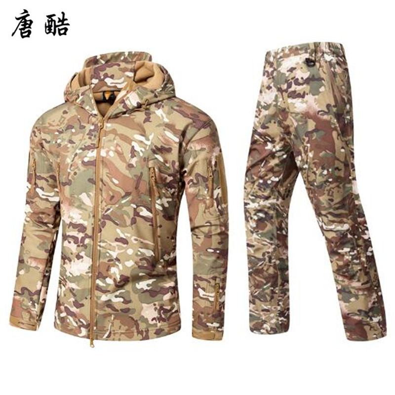Tang cool 2018 Army Hoodies Jacket Mens Winter Autumn Clothing Winter Coat Male Softshell Camouflage Polar Fleece Jacket