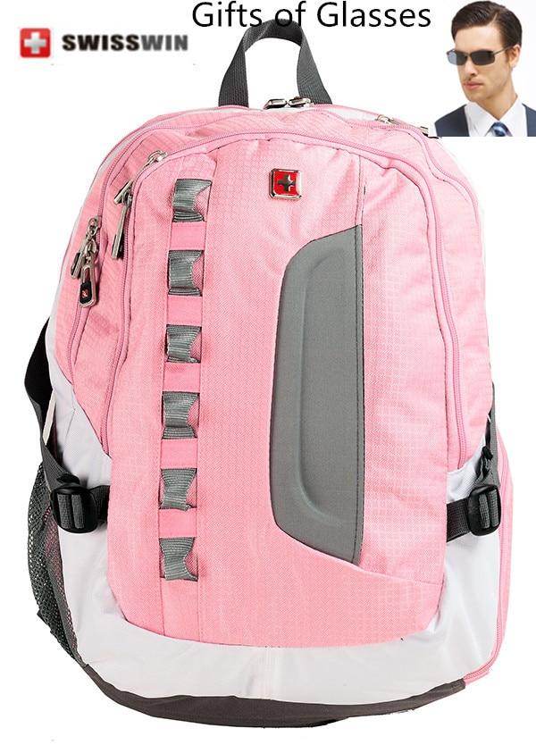 ФОТО Swisswin Classic Black Pink Travel Backpack School Backpack for Teenagers Waterproof Laptop Backpack SW8302
