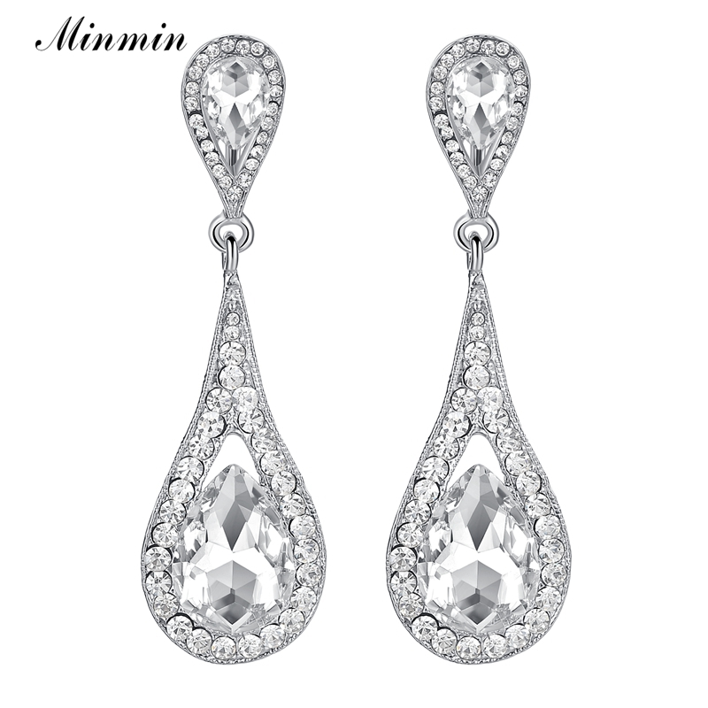 Minmin Teardrop Silver Color Bridal Wedding Earrings for Women Large Crystal Party Hanging Earrings Fashion Jewelry 2018 MEH246