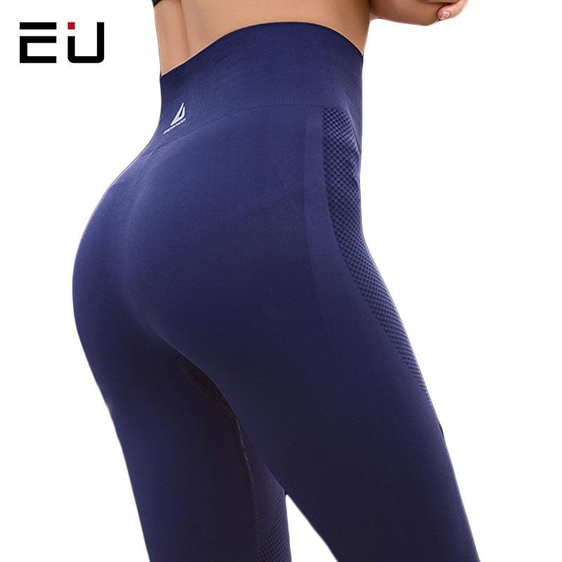 La UE mujer Yoga pantalones de alta elasticidad de cintura alta de la Yoga Leggings para mujeres Hip Up Fitness Leggings de deporte mujeres gimnasio corriendo medias