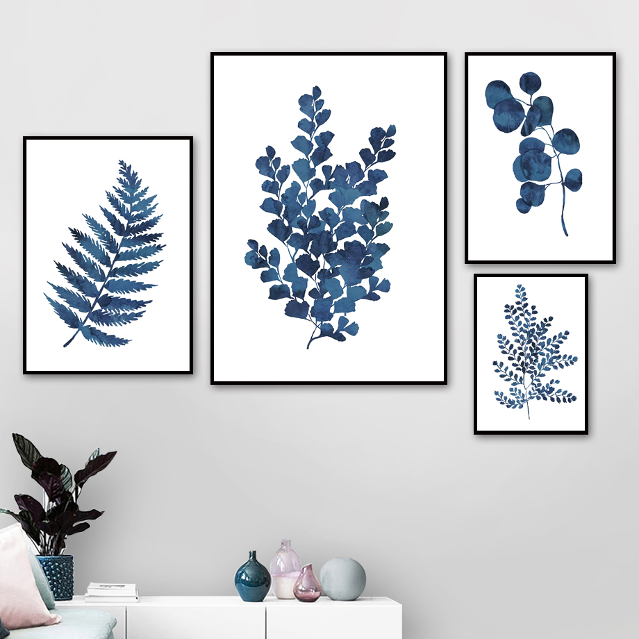 Blue Fresh Leaf Wall Art Canvas Painting Plant Art Nordic Posters And Prints Watercolor Wall Pictures For Living Room Decor