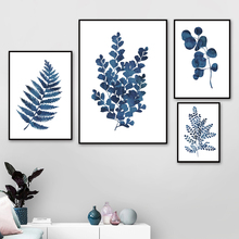 Blue Fresh Leaf Wall Art Canvas Painting Plant Nordic Posters And Prints Watercolor Pictures For Living Room Decor