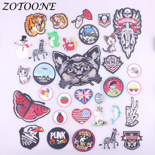 ZOTOONE Iron on Patches for Clothing Butterfly Cat Tiger Heart Round Embroidery Sticker Badge DIY Apparel  Accessories C