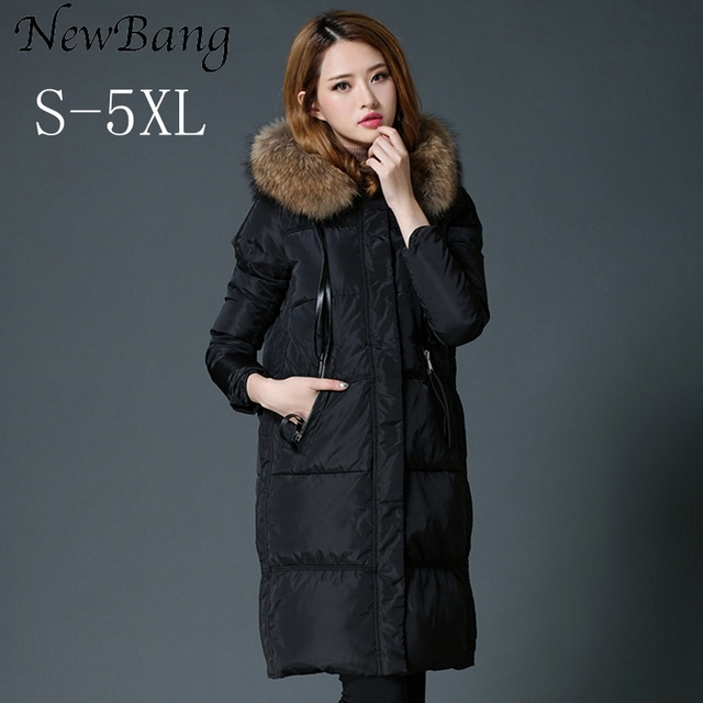 4XL 5XL Women's Down Jacket Winter Warm Thick Coat With Real Raccoon Collar Hoodie Women Overcoat  Plus Parkas