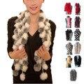2017 Nova Mulheres Inverno Imite Rabbit Fur Scarf Lady Casual Lenços de peles Lenços Quentes De Pele Bola Veludo Coelho Estilo Longo Bufandas
