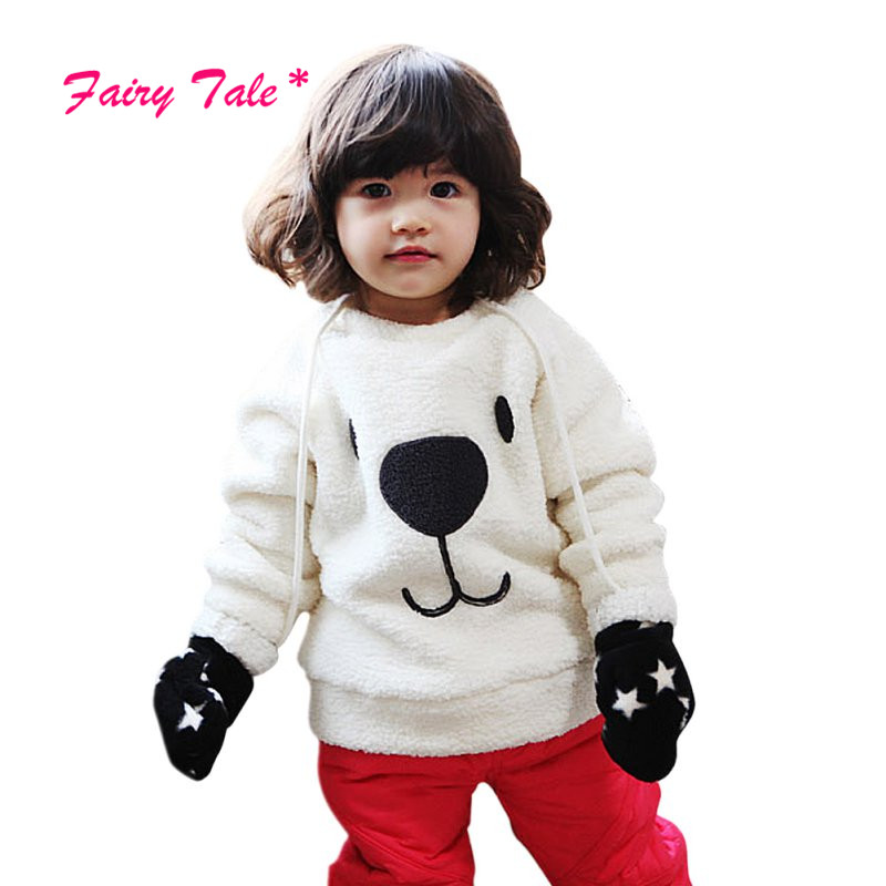2017 New Children Baby Warm Tops Clothing Girls Lovely Bear Furry White Coat Thick Sweater Coat 2017 fashion design pure hand made thick sweater coat women winter thick coarse linesthick warm high necked white sweater
