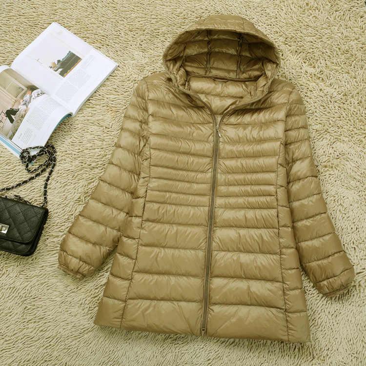 Новый бренд 6XL 7XL большой размер женский пуховик ультра легкий пуховик Женская длинная куртка плюс размер осень зима с капюшоном