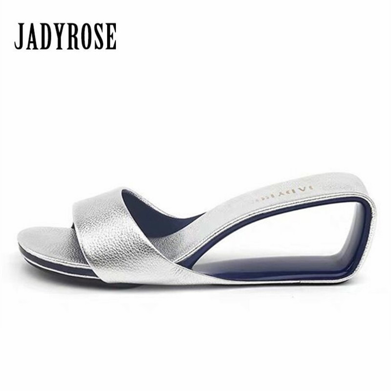 Jady Rose Fashion Silver Slippers Wedge Shoes Woman Summer Sandals 6CM High Heel Slipper Valentine Shoe