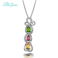 Natural Color Crystal S925 Silver Plated Pendant With Sterling Silver Plated Necklace