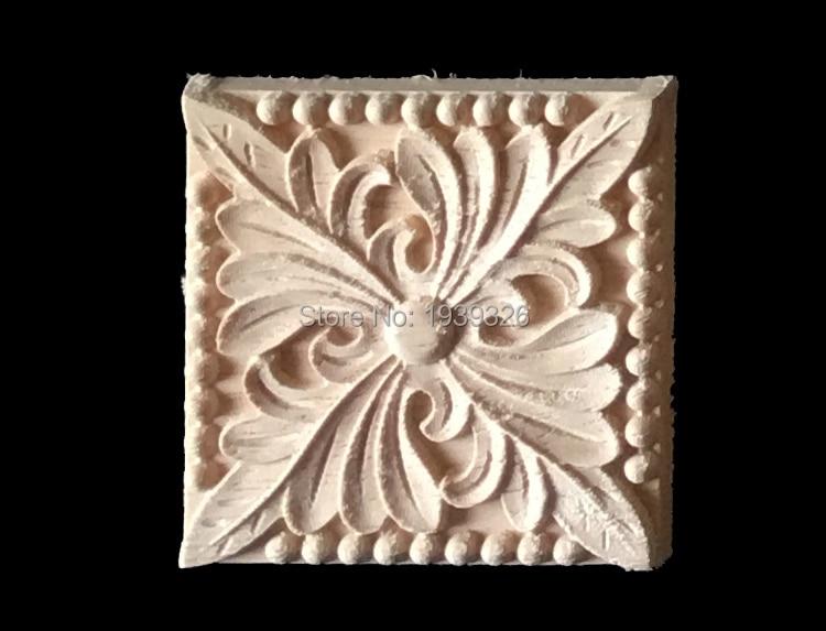 Wood carving applique 4 pieces furniture decals cabinet door flower