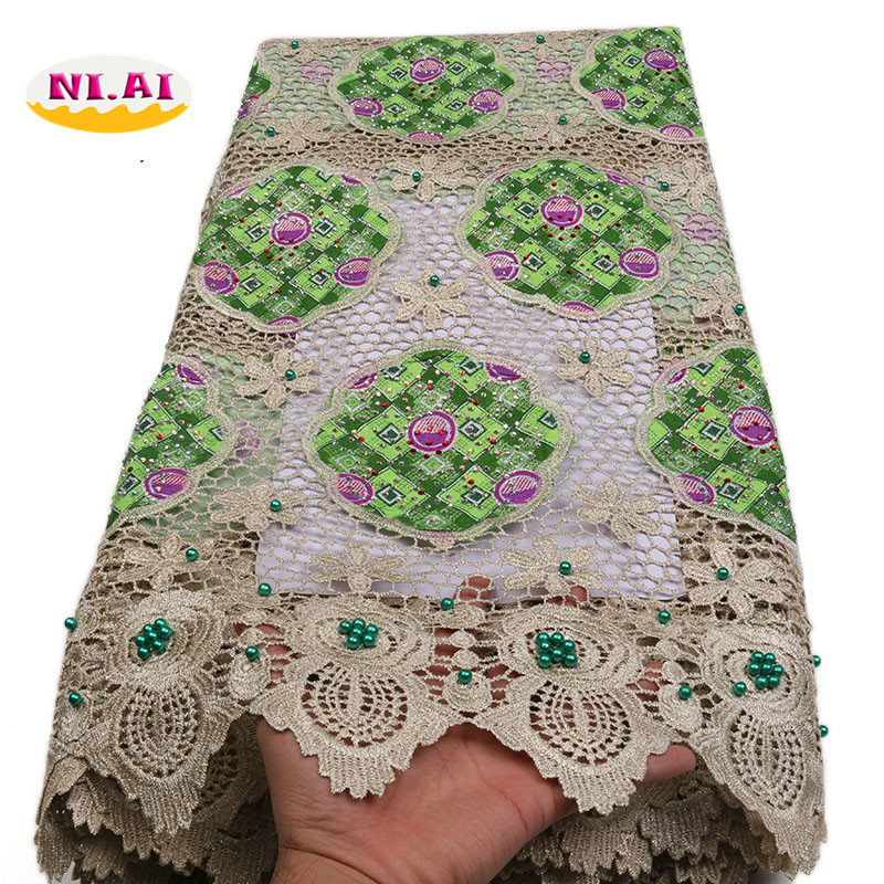Beaded Nigerian Lace Fabrics 2018 Ankara Lace Fabric In Lace Guipure Lace Fabric Green MR1399B