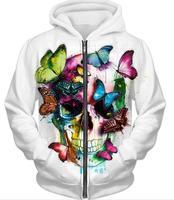 Dusza's Kolory Zbiornika przez Patrice Murciano Mody Kapturem Butterfly Skull cyfrowy wydrukowano kapturem casual bluzki Mężczyzn