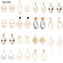 SHIXIN Gold/Silver Dangle Face Earrings Boho Drop for Women Unusual Summer Jewelry Korean/Fashion Earring 2019 Female