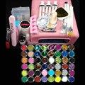 36 w uv lâmpada rosa conjuntos de Ferramentas manicure set Nail Art Gel UV Kits Escova Dicas Glue Acrílico Set Pó #004
