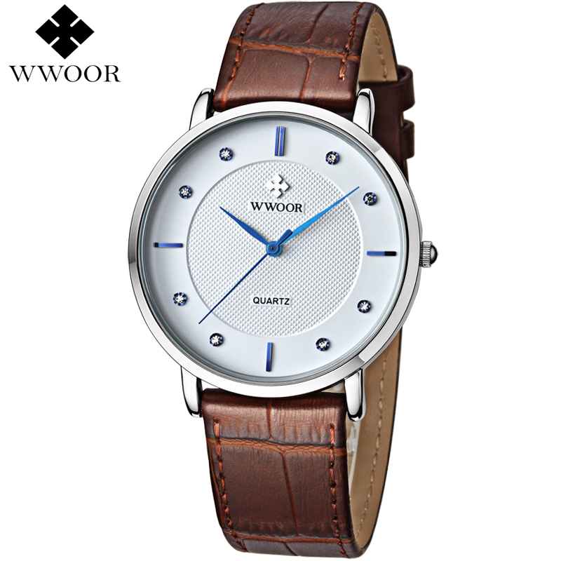 Men Watches Top Brand Luxury Ultra Thin 50m Waterproof Quartz Sports Watch Men Leather Strap Wristwatch Male Famous WWOOR Clock mens watches top famous brand wwoor luxury male quartz watch leather strap waterproof men wristwatch clock reloj hombre
