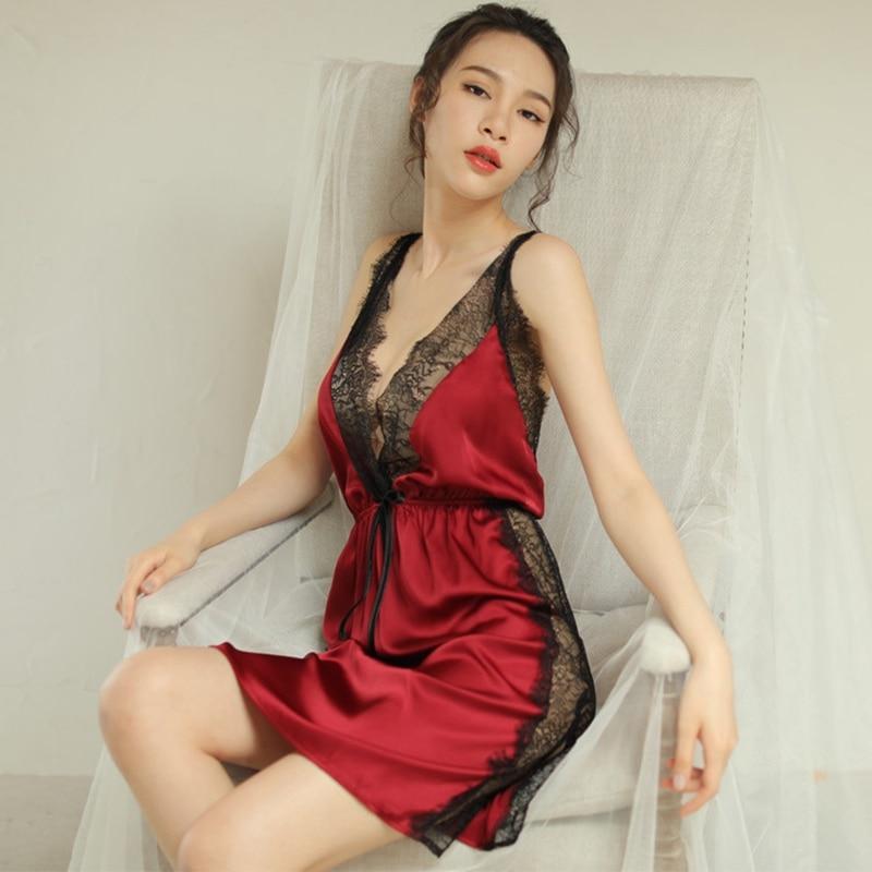 Women's Sleepwears Women Sexy Sleepwear Silk Plus Size Night Dress Lady Night Gown Ropa Sexy Para El Sexo Lingerie Porno Women Clothing Pink Red