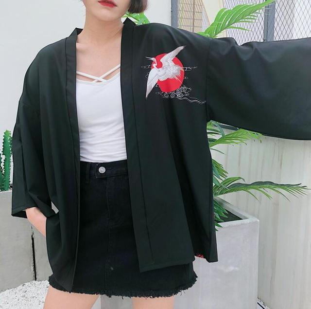 Harajuku bf wind loose crane printing kimono shirt