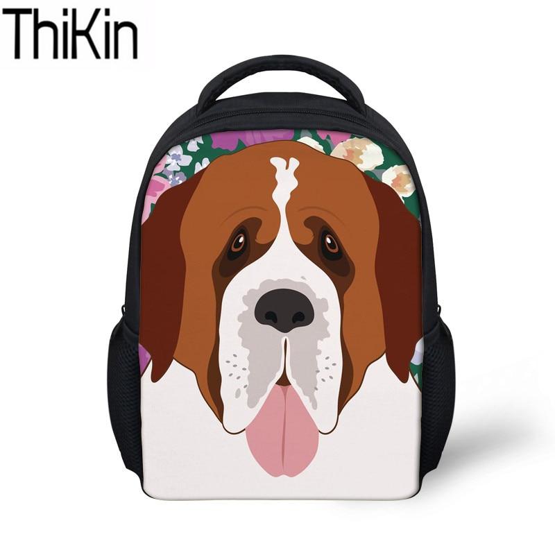 3ba1c78a64e3 THIKIN Girls Saint Bernard Dog Printing School Bags for Kids Kindergarten  Backpacks Baby Shoulder Backpack Children Mini Satchel