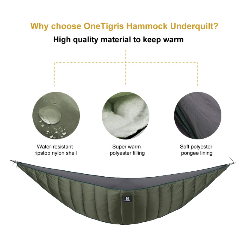 OneTigris Lightweight Length Full Hammock Underquilt Under Blanket 23 F to 41 F (-5 C to 5 C) Sesuai untuk Winter Cold