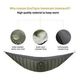 OneTigris léger pleine longueur hamac sous couverture 23 F à 41 F (-5 C à 5 C) convient pour l'hiver froid