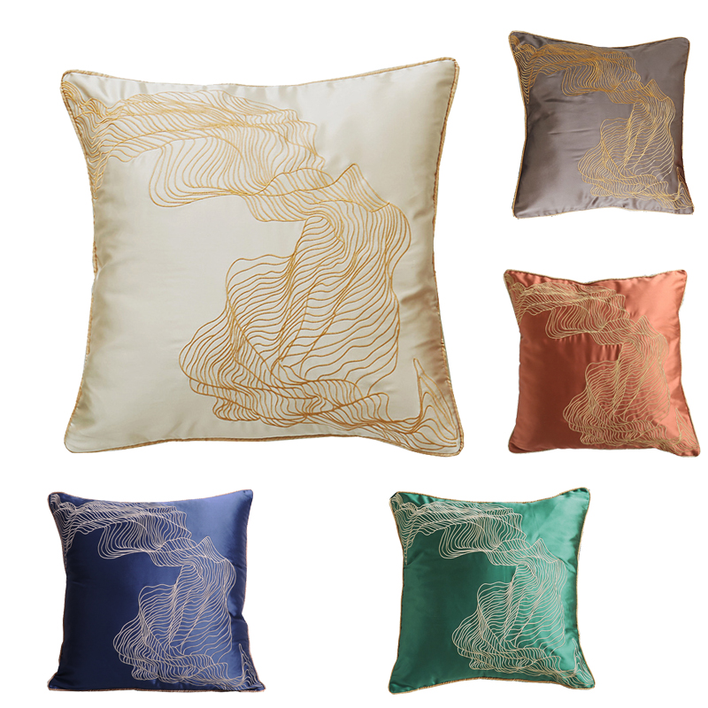 Soft Embroidery <font><b>Pillow</b></font> <font><b>Case</b></font> Handmade Emulation Silk Cushion Cover Satin Throw <font><b>Pillow</b></font> Covers Home Decoration <font><b>50x50cm</b></font> for Sofa image